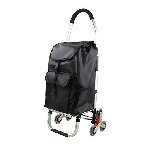 LUGLQA - Carrito de la compra de aleación de aluminio con seis ruedas para coche, plegable, portátil, para comprar comida, carrito pequeño para reducir el desgaste y el desgarro
