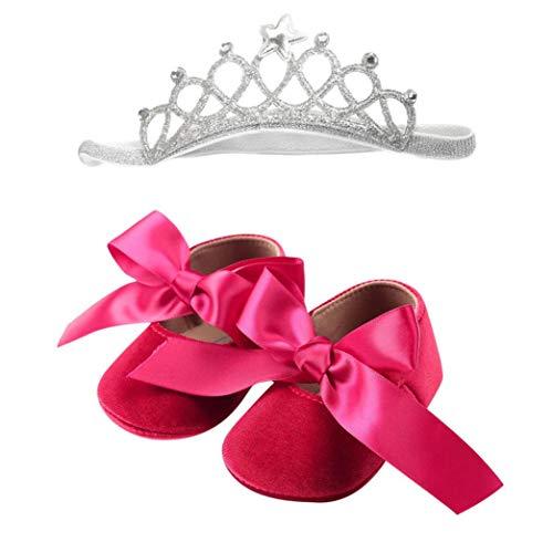 Huhu833 Babyschuhe, 2 Pcs Baby Mädchen Schuh Anti-Rutsch-weiche Sohle Kleinkind Schuhe+ Stirnband (12~18 Month, Hot pink)