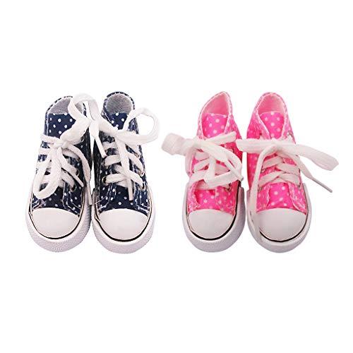 Milageto Azul Y Rosa Lindo High Top Lace Up 1/3 60cm Zapatos DIY Zapatillas Accesorios Set