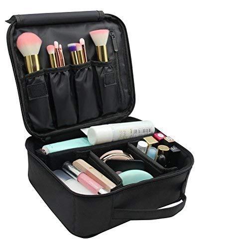 Schminktasche,Vococal®kosmetiktasche- Portable Travel Kosmetiktasche Halter Lagerung Taschen für make up pinsel eyeshadow GRÖSSE:10.24L x 9.45W x 3.94H Zoll, schwarz