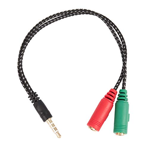 Huante 1 Pieza Adaptador de Cable 2 en 1 Divisor 4 Polos 3.5Mm Auricular de Audio Auriculares A 2 Jack Hembra, Cable de Audio de Micrófono para Auriculares 3 Polos para Pc
