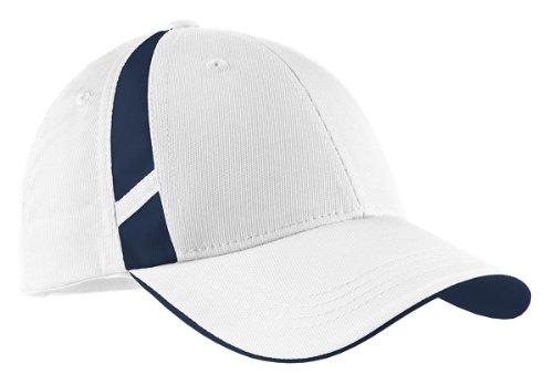 Sport-Tek® Dry Zone® Mesh Inset Cap. STC12 White/True Navy OSFA
