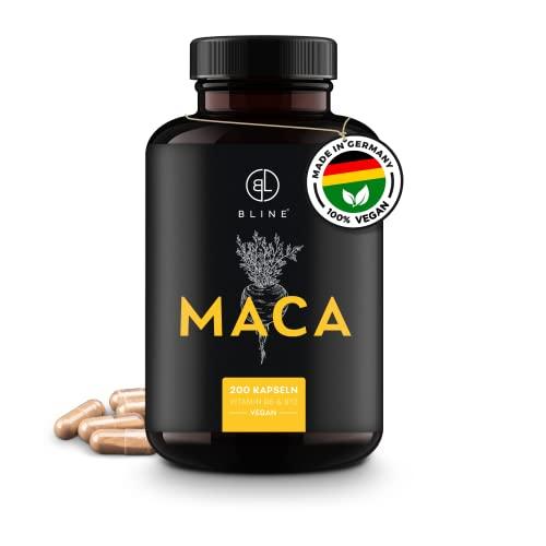 BLINE® MACA Kapseln hochdosiert – 200 Stück – vegan – 8.000mg je Kapsel 20:1 Maca Wurzel Extrakt – Mit L-Arginin, Zink, Vitamin B6 & B12 – Laborgeprüft, Deutsche Produktion