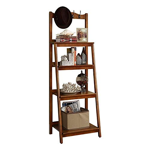 HEWEI Shelving Multilayer Opslag Houten Rek Ladder Boekenkast ladder Plank Wandrek Tas rek (Kleur : Walnoot Kleur)