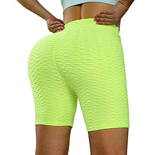 iSayhong Leggings tik tok para mujer, de cintura alta, con textura, pantalones cortos de motorista, pantalones de yoga