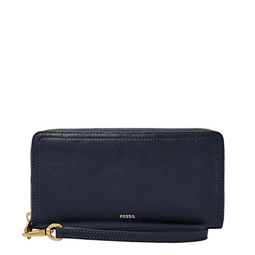 Fossil Women's Logan Faux Leather RFID Zip Around Clutch Wallet, Midnight Navy
