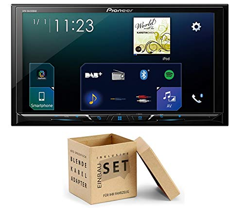 Pioneer Radio SPH-DA230DAB 2DIN Apple CarPlay Waze met antenne + inbouwset voor Ford Fiesta (JA8) 2008-2013 zilver met display