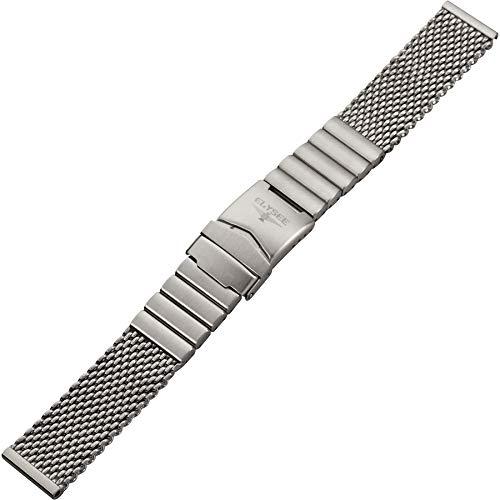 Elysee Uhrenarmband - Grobmaschiges Milanaise-Armband aus mattem Edelstahl mit Sicherheits-Faltschli