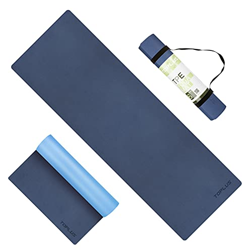 Yoga Mat - Upgraded Yoga Mat Eco Friendly Non-Slip Exercise & Fitness Mat with Carrying Strap, Workout Mat for All Type of Yoga, Pilates(1/4 inch-1/8 inch)