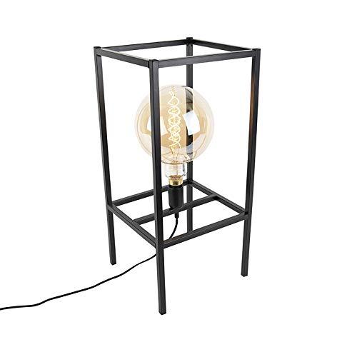 QAZQA Modern Moderne Tischlampe schwarz 1-Licht - Big Cage/Innenbeleuchtung/Wohnzimmerlampe/Schlafzimmer Metall Quadratisch LED geeignet E27 Max. 1 x 60 Watt