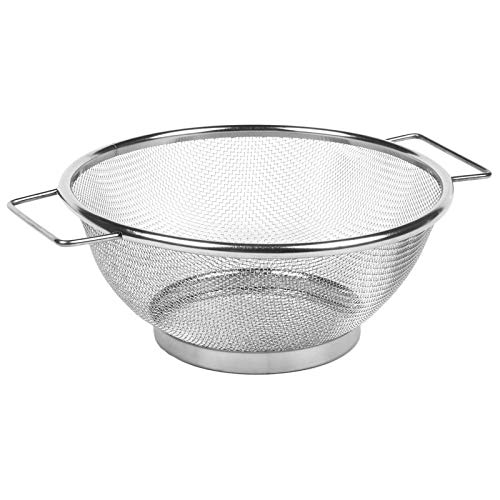 MENGzhuHSA Kitchen Stainless Steel Fine Mesh Strainer Bowl Drainer Vegetable Sieve Colander Sifter for Cooking,straining pasta noodles (Color : Silver, Size : M)