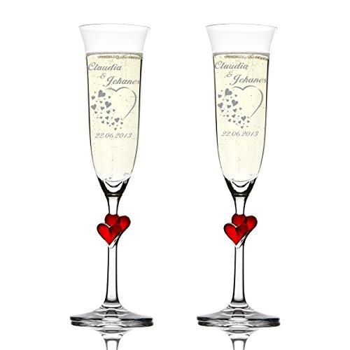 polar-effekt 2er Set Hochzeitsgeschenke Personalisiert - Sektgläser graviert mit Namen und Datum – Sektkelche mit roten Herzen 175 ml - Geschenk zur Hochzeit - Motiv Herz mit vielen kleinen Herzen