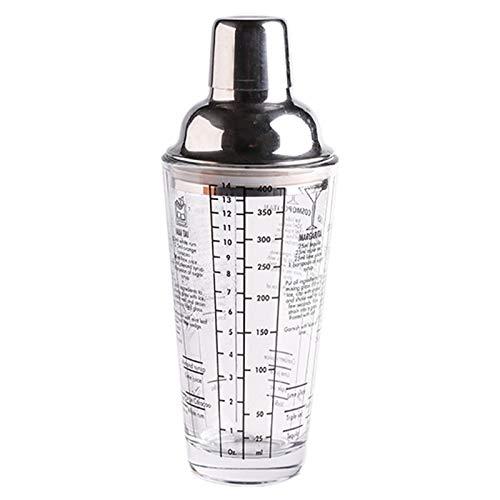 Camisin 400 ml de vidrio con escala Shaker Shaker Cup Home Bar Bartender Cocktail Bartender herramienta