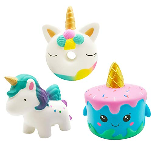 Yonishy Kawaii 3 Packs Jumbo Squishies Narwhale Cake,Unicorn Donut,Star Galaxy Unicorn Horse Set Cream Scented Slow Rise Squishy Soft Toy for Stress Relief Gift Decorative Props Large