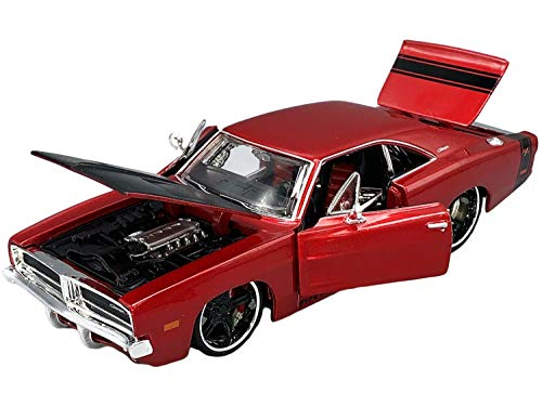 """1969 Dodge Charger R/T Red Metallic with Black Hood and Black Stripes Classic Muscle"""" 1/25 Diecast Model Car by Maisto"""""""