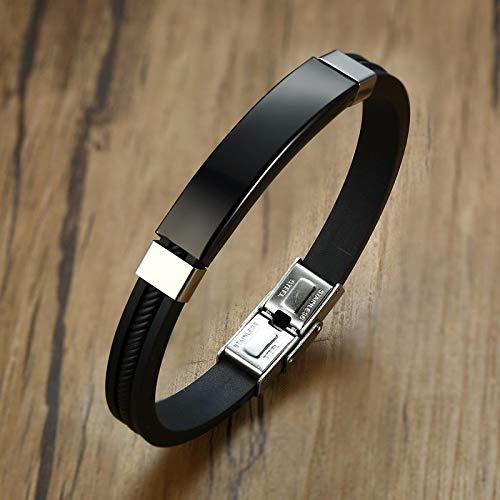 Pulseras personalizadas de acero inoxidable de identificación pulseras para hombres y mujeres, brazalete de silicona negro personalizado casual deportes masculino Pulseira en blanco