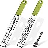 LEMCASE Zester, Rallador de queso, rallador de parmesano, rallador de limón, rallador de cocina de acero inoxidable con cubierta protectora y mango de silicona, color verde (juego de 2)