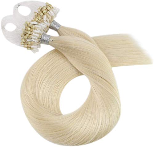 Moresoo Micro Ring Extensions Blond 24 Zoll/60cm 100% Remy Extensions Echthaar Microring 1g 50 Stück