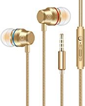 Earbuds Stereo Headphones in-Ear Earphones with Microphone Mic Wired Earphone Compatible iPhone iPod iPad Samsung Android Smartphones Tablet Laptop 3.5mm Jack-Gold