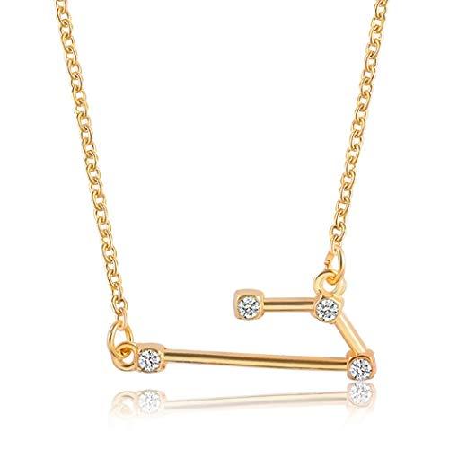 ZOMEBER Bff Halskette Mode-Zirkon-Anhänger Stern Wächter Halskette Kurzschlussclavicle Chain (Wassermann-Gold) (Farbe : Aries-Gold)
