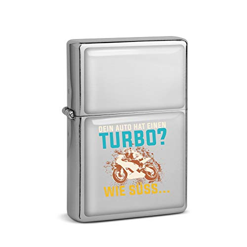SPIRITSHIRTSHOP Tu coche tiene un turbo como dulce | Mechero de gasolina cromado | Idea de regalo | Recargable de larga vida útil