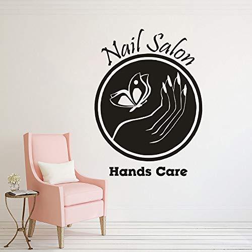 yaonuli Nagelstudio Logo Wandaufkleber Maniküre Fensteraufkleber Nagelstudio Mode Dekoration Vinyl Wandbild 63x67cm