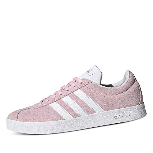 adidas Women's VL Court 2.0 Gymnastics Shoe, Clear Pink FTWR White Grey Five, 7.5 UK