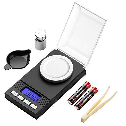 Báscula Digital de Bolsillo, Báscula Digitales de Precisión LCD de miligramos, Mini Báscula Digital de 50 g / 0,001 g con pantalla LCD, Escala de Joyería Portátil Características de tara y PCS, Báscula de Joyería con pesas de calibración, pinzas, bandejas de pesaje, batería. (50g)