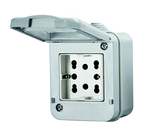 4Box 4B H21 Contenitore Ip55 Completo di Presa Side, 250 V, Grigio