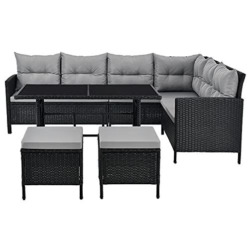 ArtLife Polyrattan Lounge Manacor schwarz – Gartenlounge mit Sofa, Tisch, 2 Hocker & Kissen – Gartenmöbel Set bis 7 Personen – Sitzbezüge in Grau