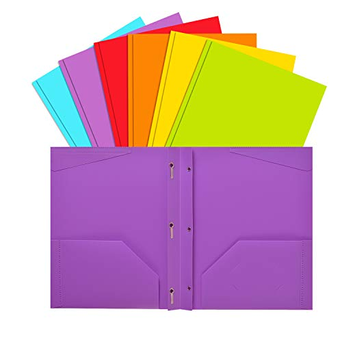 INFUN Plastic Pockets Folders with Brads, Heavy Duty School Folders with Prongs and Pockets, Letter Size Multicolor Folders, 6 Pack