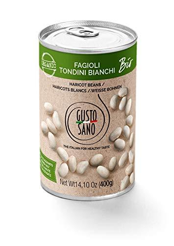 GUSTO SANO Weisse bohnen BIO, Bohnen dose 6 Pack X 400 Gr: 2,4 KG. Bohnen Bio fur bohnensuppe, gemüse in dosen gekocht und rehydratisiert, GVO-frei, 100% Made in italy