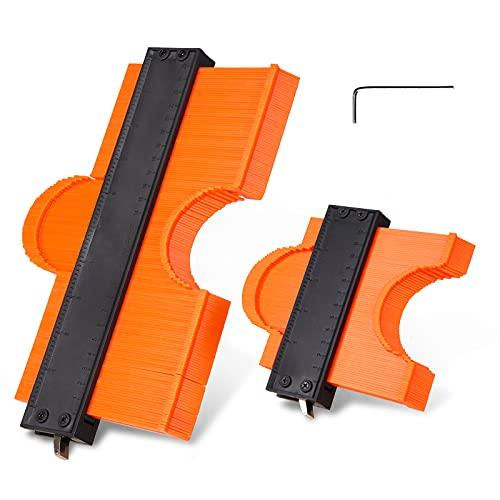 2 Packung Konturenlehre,ADORIC Markierwerkzeuge Profillehre Kontur Duplikator von 25.4cm und 12.7cm für Unregelmäßiges Profil, Ecken, Holzbearbeitung und Dekoration