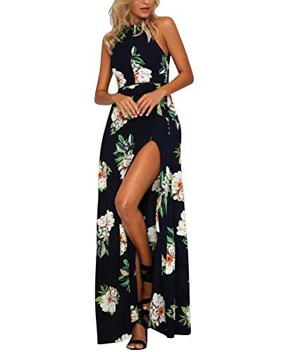 Vestidos de Fiesta Largos de Noche - Halter Desnudos Hendidura - Estampado Flore - para Boda Fiesta Partido Playa