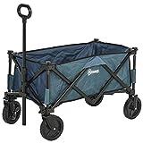 Outsunny Pull Along Cart Folding Cargo Wagon Trailer Trolley for Beach Garden Use with Telescopic Handle -...