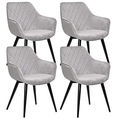 WOLTU Esszimmerstühle BH153gr-4 4er Set Küchenstühle Wohnzimmerstuhl Polsterstuhl Design Stuhl mit Armlehne Grau Gestell aus Stahl Samt