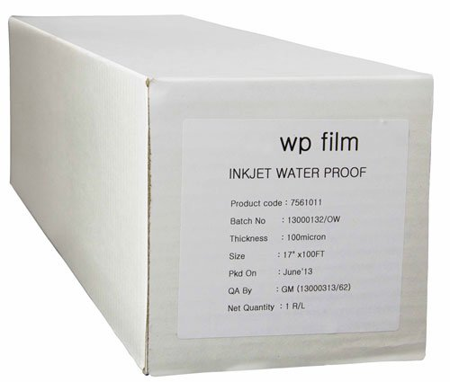 60 x 100' Gloss Waterproof Inkjet Film, 4mil, 1 Roll