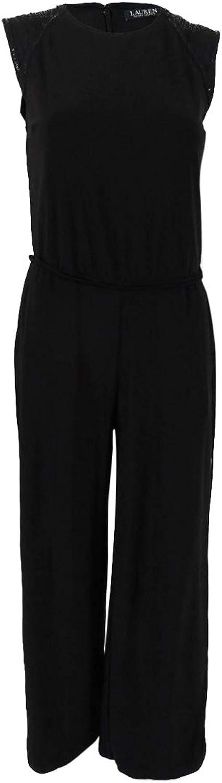 Lauren Ralph Lauren Womens Dorstine Beaded Sleeveless Jumpsuit Black XL
