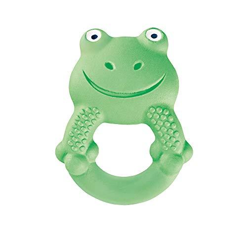MAM Friend Max the Frog Entwicklungsspielzeug, Baby Spielzeug aus Naturkautschuk, besonders weicher Greifling zum Ertasten, ab 4+ Monaten, grün