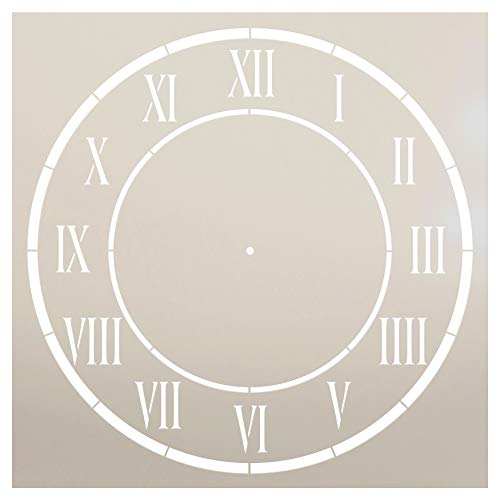 """D\'Anjou Uhr-Schablone von StudioR12, römische Ziffern, Zifferblattkunst – Wiederverwendbare Mylar-Schablone, Malerei, Kreide, gemischte Medien, Verwendung zum Basteln, Heimdekoration. 15\"""" ohne"""