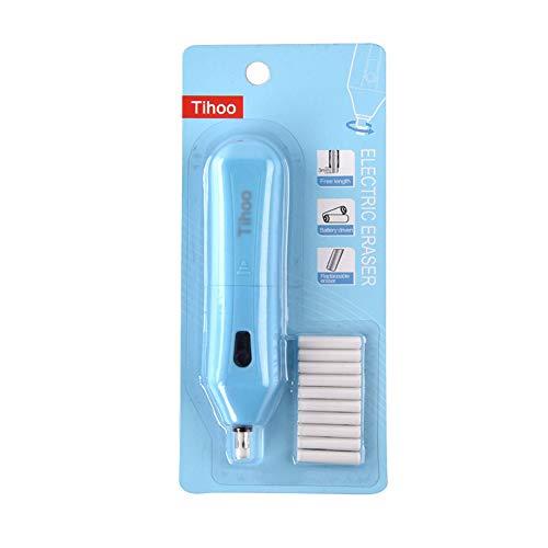 Batteriebetriebener Bleistiftradierer (blau), elektrischer Radiergummi mit 10 Radiergummi-Nachfüllminen für Graphit- & Farbstifte, 12,5 x 2,8 x 2,3 cm