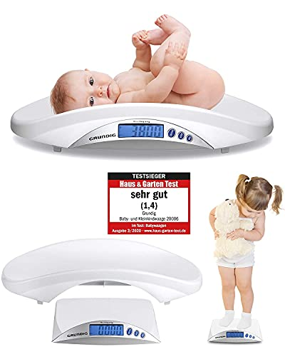 Grundig Pèse-bébé numérique Vainqueur du test – Balance de bébé haute précision en incréments de 5 grammes I Pèse-bébé Balance numérique pour bébé (blanc)