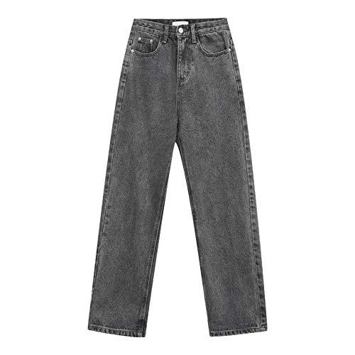 Luandge Women High Waist Retro Endurance Wide Leg Denim Pants All Seasons Casual Fashion Straight Leg Jeans with Pockets M