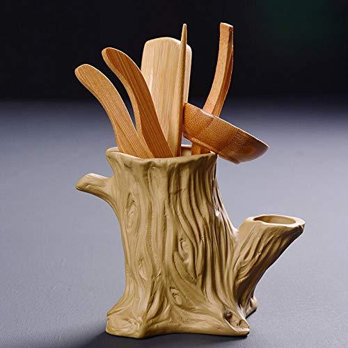 Accesorios para juegos de té Ceramic tea set tea tray accessories Kung Fu tea ceremony set ceramic tea ceremony six gentleman tea art set-Dead tree yellow end mud-bamboo accessories tea ceremony Jueg