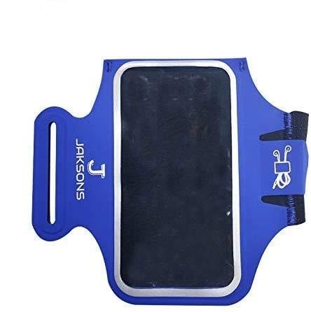 Jaksons Sports PU - Brazalete deportivo de neopreno para teléfonos móviles MP3 con compartimento para auriculares múltiples opciones de colores vibrantes (5.5 pulgadas, azul brillante)