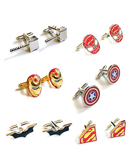 Superhelden-Manschettenknöpfe, 6er-Set, Batman, Captain America, Spiderman, Superman, Iron Man, Thor + Kraft-Box + 6 Geschenkbeutel