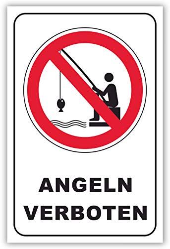 SCHILDER HIMMEL anpassbares Angeln verboten Schild DIN A4 29x21cm Alu-Verbund mit Klebestreifen, Nr 199 eigener Text/Bild verschiedene Größen/Materialien