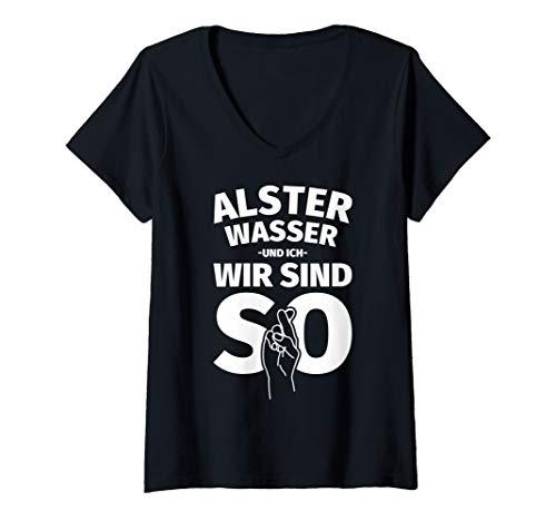 Damen Alsterwasser Geschenke lustiger Spruch Bier T-Shirt mit V-Ausschnitt