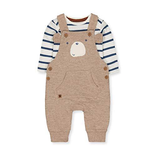 Mothercare NB IP Slub Bear Dungaree Set Conjunto, ((Brown 31), 18-24 Months (Size:92) para Bebés