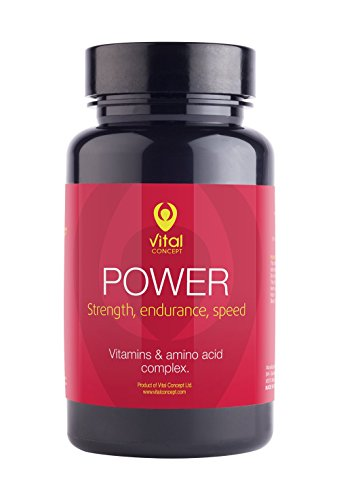 Vital Concept Power - Fast Recovery After Demanding Workouts Pills. Tablets for Sports That Need targeted Power, Endurance and Speed. Vitamins and Amino Acid Complex. 60 Veggie Capsules, 30 Days
